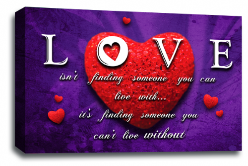 Love Heart Wall Art Picture Quote Red Purple Grey Canvas Print